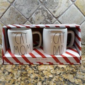 NWT Rae Dunn CAT MOM& CAT DAD Mugs